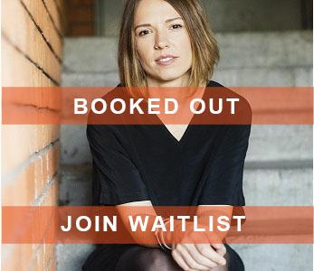 emily bitto with booked out banner