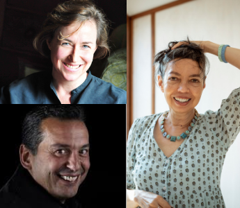 a composite photo featuring portraits of Cate Kennedy, Christos Tsiolkas, and Michelle de Kretser