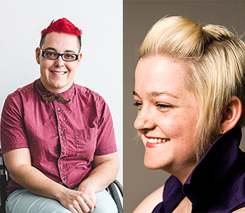 Two images of white women – one has short red hair and glasses and sits smiling in a wheelchair, the other is smiling broadly off camera with her short blonde hair pinned back from her face.