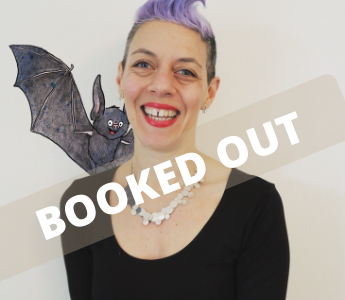 A portrait of Nicki Greenberg, a woman with light peach skin and purple hair. She is posing with an animated bat on her shoulder
