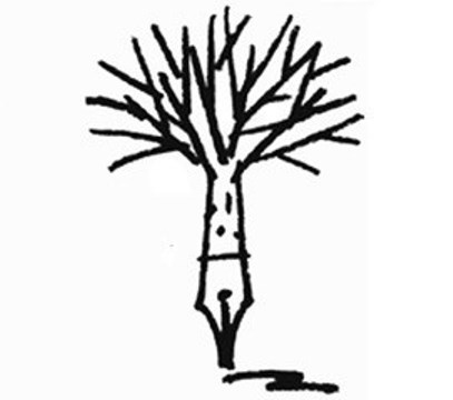 Words in Winter logo - illustration of a tree growing out of a pen