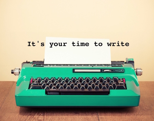 image of typewriter with 'It's your time to write' banner