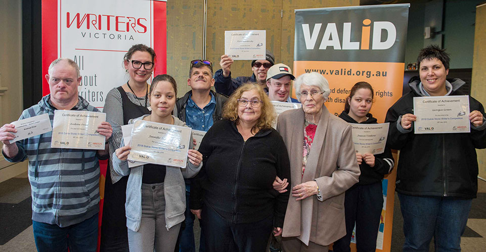 A photo of the 2018 Dulcie Stone Writing Award recipients with staff from Writers Victoria and VALiD and Dulcie Stone.