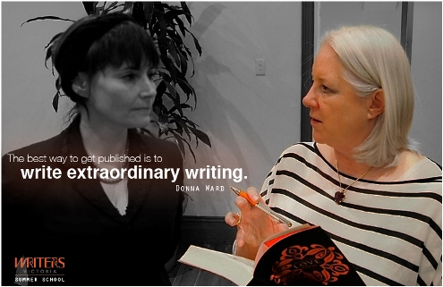 "Photo of Donna Ward talking to a writer, featuring the text ""The best way to get published is to write extraordinary writing"""