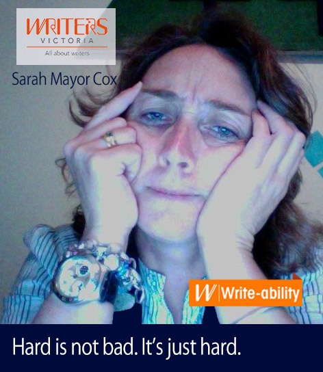 "A photo of Sarah Mayor Cox with the text ""Hard is not bad. It's just hard."""