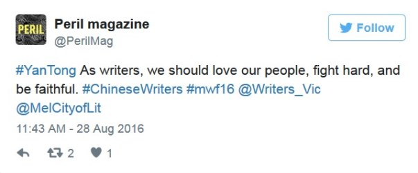 Twitter post from Peril magazine says: Yan Tong - as writers, we should love our people, fight hard and be faithful